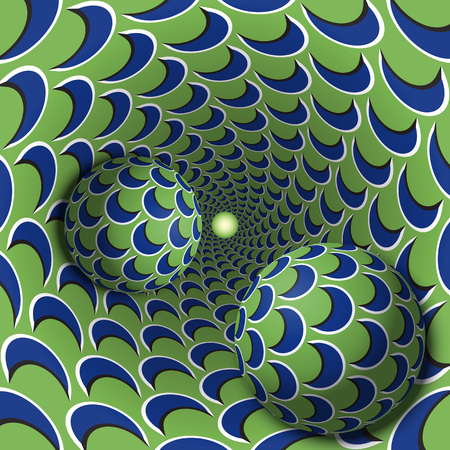 Optical illusion illustration. Two balls are moving in mottled hole. Blue crescent on green pattern objects. Abstract fantasy in a surreal style.