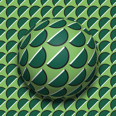Patterned ball rolling along the same surface. Abstract vector optical illusion illustration. Motion background and tile of seamless wallpaper. 일러스트