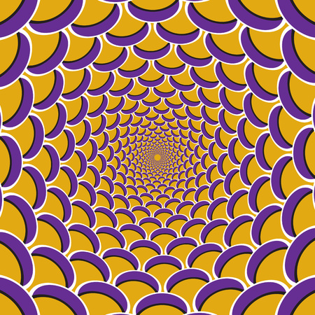 Optical motion illusion background. Purple crescent flock together circularly to the center on yellow background.