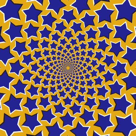 Optical motion illusion background. Blue stars fly apart circularly from the center on yellow background.