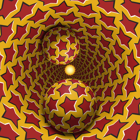 Optical illusion illustration. Two balls are moving in mottled hole. Red stars on yellow pattern objects. Abstract fantasy in a surreal style.