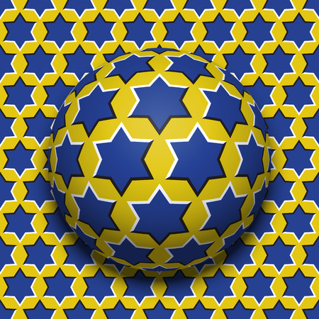 Starry ball rolling along the same surface. Abstract vector optical illusion illustration. Motion background and tile of seamless wallpaper.