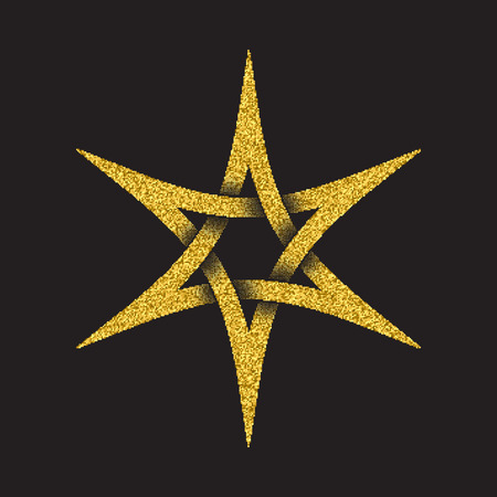 Golden glittering logo template in Celtic knots style on black background. Tribal symbol in six pointed star form. Gold ornament for jewelry design.