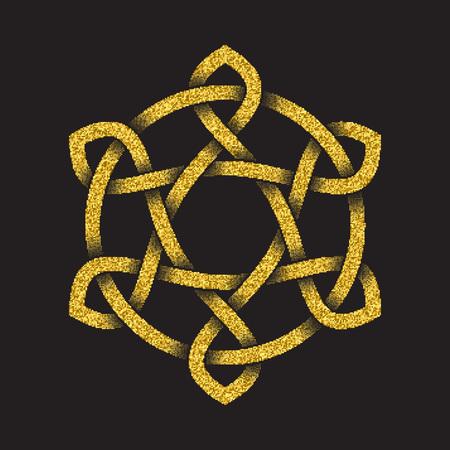Golden glittering logo template in Celtic knots style on black background. Tribal symbol in hexagonal mandala form. Gold ornament for jewelry design. Illustration