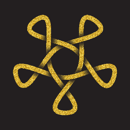 Golden glittering logo template in Celtic knots style on black background. Tribal symbol in pentagonal mandala form. Gold ornament for jewelry design.