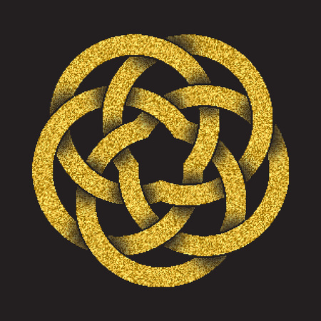 Golden glittering logo template in Celtic knots style on black background. Tribal symbol in circular mandala form. Gold ornament for jewelry design. Illustration