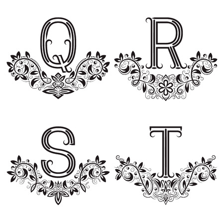 Q, R, S, T vintage monograms in floral wreaths. Set of black letters in laurels. Illustration