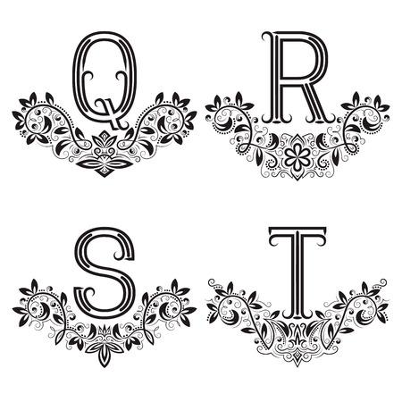 Q, R, S, T vintage monograms in floral wreaths. Set of black letters in laurels. Vectores