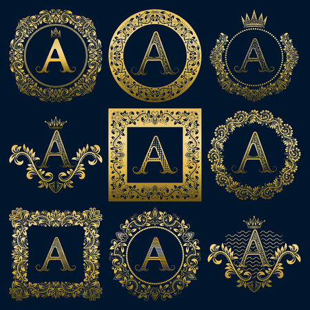 Vintage monograms set of A letter. Golden heraldic in wreaths, round and square frames. Vettoriali