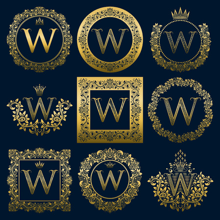 Set di monogrammi vintage della lettera W. Araldico dorato in ghirlande, cornici rotonde e quadrate. Vettoriali