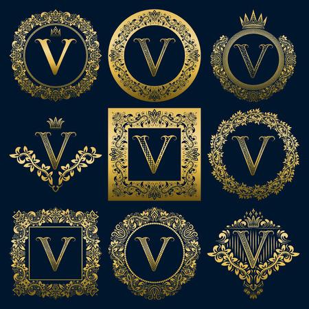 Set di monogrammi vintage della lettera V. Araldico dorato in corone, cornici rotonde e quadrate. Vettoriali