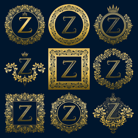 Vintage monograms set of Z letter. Golden heraldic in wreaths, round and square frames.