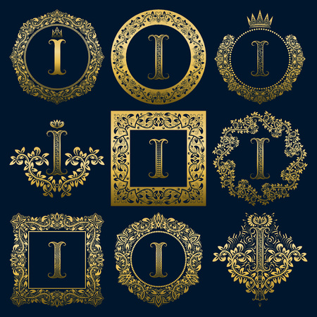 Vintage monograms set of I letter. Golden heraldic in wreaths, round and square frames.