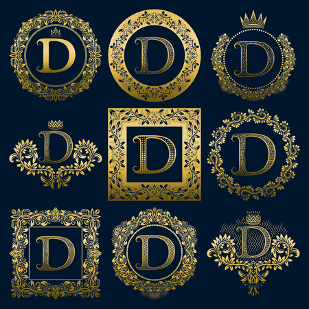 Vintage monograms set of D letter. Golden heraldic in wreaths, round and square frames.