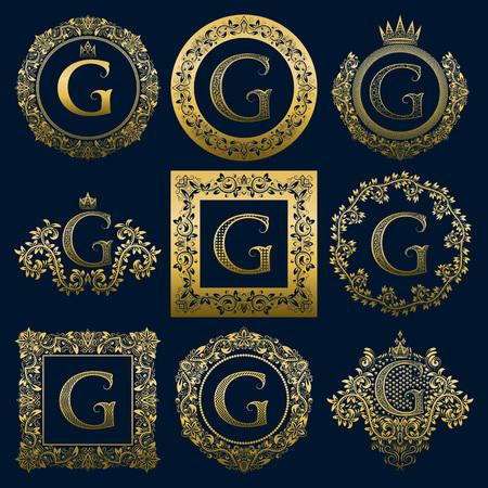 Set di monogrammi vintage della lettera G. Araldico dorato in ghirlande, cornici rotonde e quadrate.