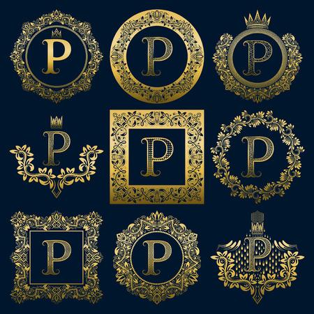 Ensemble de monogrammes vintage de lettre P. Héraldique doré en couronnes, cadres ronds et carrés.