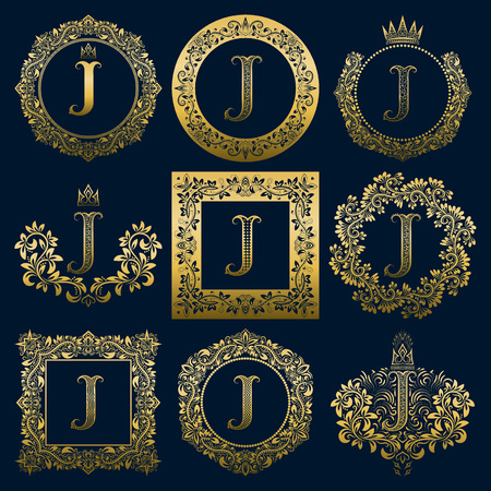 Vintage monograms set of J letter. Golden heraldic in wreaths, round and square frames.