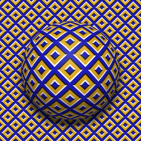 Bal met patroon die over hetzelfde oppervlak rolt. Abstract vector optische illusie illustratie. Motieachtergrond en tegel van naadloos behang.