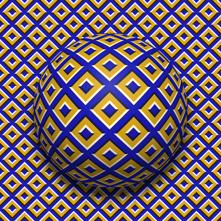 Patterned ball rolling along the same surface. Abstract vector optical illusion illustration. Motion background and tile of seamless wallpaper. Illustration