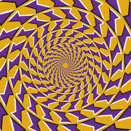 Optical motion illusion background. Purple shapes fly apart circularly from the center on yellow background. Vector Illustratie