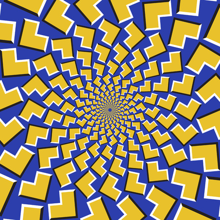 Optical motion illusion background. Yellow arrows fly apart circularly from the center on blue background. Иллюстрация
