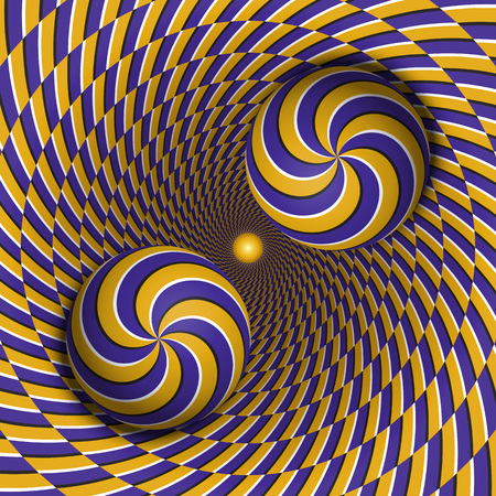 Optical illusion vector illustration. Two multiple spiral balls are moving in rotating hole. Blue yellow patterned objects. Abstract background in a surreal style.