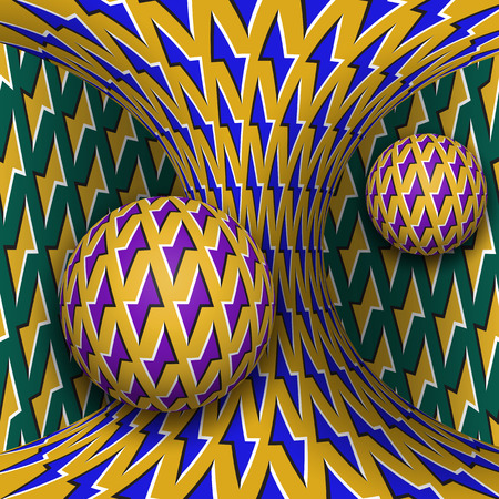 Optical motion illusion illustration. Two spheres are rotating around of a moving hyperboloid. Abstract fantasy in a surreal style. Vector Illustratie