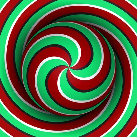 Optical motion illusion background. Sphere with a red green multiple spiral pattern on helix background.