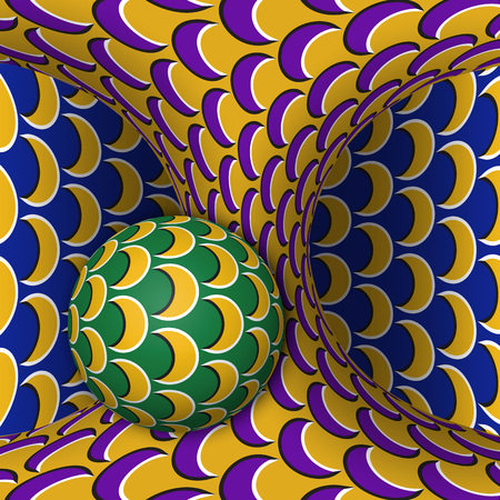 Optical motion illusion illustration. A sphere is rotating around of a moving hyperboloid. Abstract fantasy in a surreal style. 向量圖像