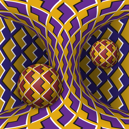 Optical motion illusion illustration. Two spheres are rotation around of a moving hyperboloid. Abstract fantasy in a surreal style. Vector Illustratie