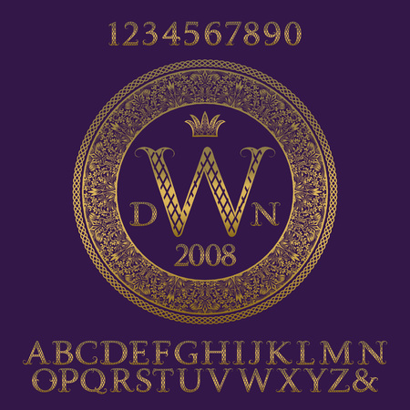 Patterned gold letters and numbers with initial monogram. Elegant patterned font and elements kit for logo design.