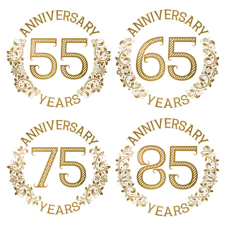 Set of golden anniversary emblems. Fifty fifth, sixty fifth, seventy fifth, eighty fifth years signs in vintage style.