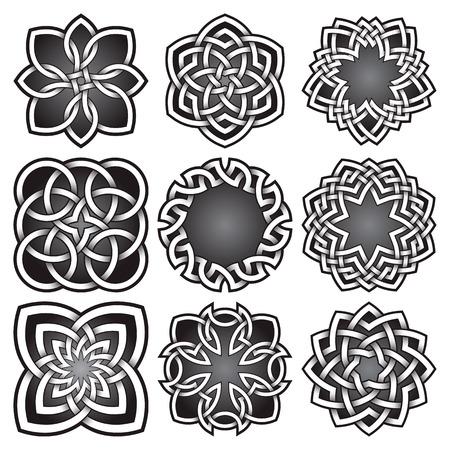 Ensemble de symboles de logo dans le style de noeuds celtiques. Paquet de symboles de tatouage tribal. Neuf timbres en argent pour la conception de bijoux. Éléments de conception de logos monochromes.