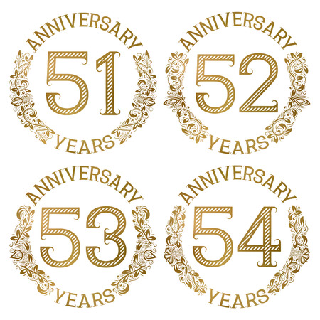 Set of golden anniversary emblems. Fifty first, fifty second, fifty third, fifty fourth years signs in vintage style.