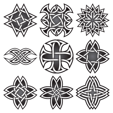Set of logo symbols in Celtic knots style. Tribal tattoo symbols package. Nine silver stamps for jewelry design. Monochrome logos design elements.