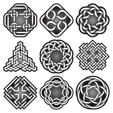Conjunto de plantillas de logotipos en estilo celta nudos. Paquete de símbolos de tatuajes tribales. Nueve adornos de plata para diseño de joyas. Diseño de logotipos monocromáticos.