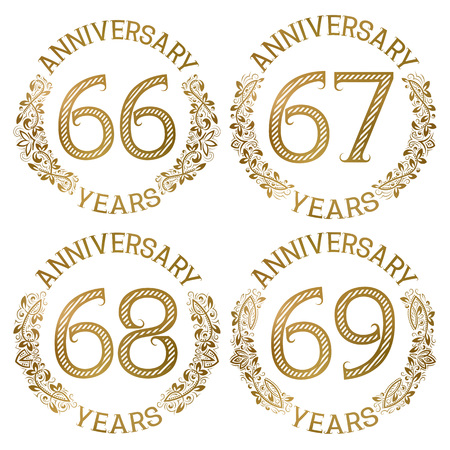 Set of golden anniversary emblems. Sixty sixth, sixty seventh, sixty eighth, sixty ninth years signs in vintage style.