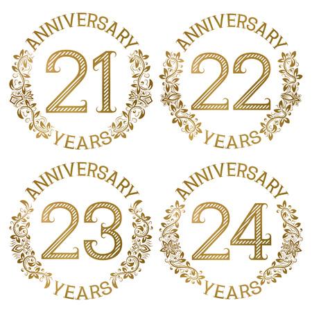 Set of golden anniversary emblems. Twenty first, twenty second, twenty third, twenty fourth years signs in vintage style. Vettoriali