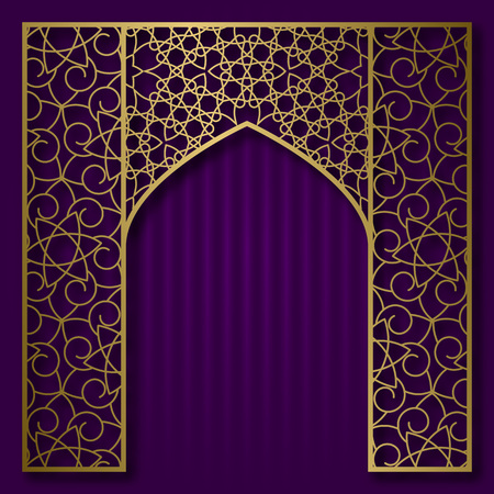 Traditional background with golden patterned arched frame