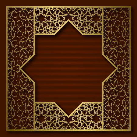 Golden cover background with traditional patterned square frame.