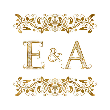 E and A vintage initials logo symbol. The letters are surrounded by ornamental elements. Wedding or business partners monogram in royal style.