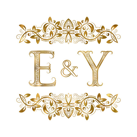 E and Y vintage initials logo symbol. The letters are surrounded by ornamental elements. Wedding or business partners monogram in royal style.