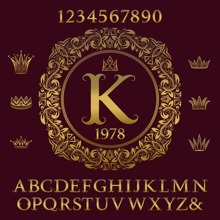 Golden letters and numbers with initial monogram and crowns. Antique font and elements kit for logo design. Illustration
