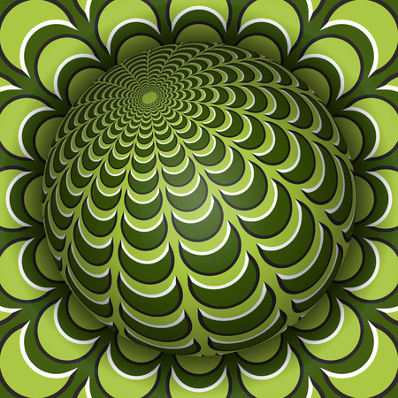 Optical illusion vector illustration. Sphere soaring above the surface. Green olive patterned objects. Abstract background in a surreal style. Иллюстрация