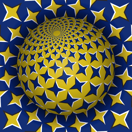 Optical illusion vector illustration. Starry sphere soaring above the surface. Blue yellow patterned objects. Abstract background in a surreal style.