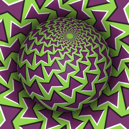 Illustrazione vettoriale di illusione ottica. Sfera modellata che si erge sopra il foro. Oggetti con motivi viola verdi. Sfondo astratto in uno stile surreale.