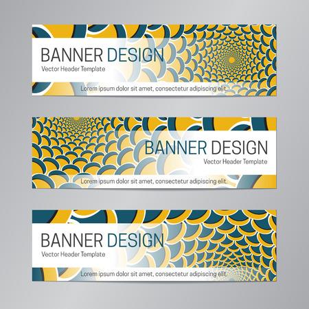 Blue yellow website header design. Abstract banner template. Vectores