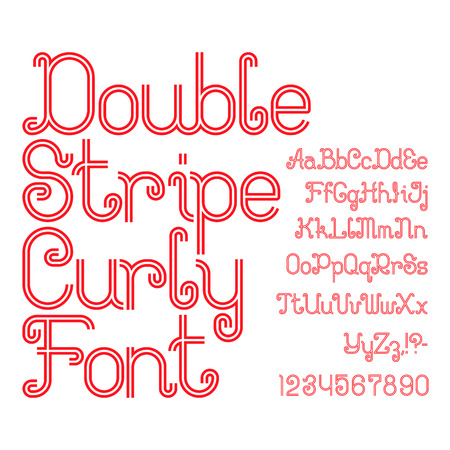 Beautiful red double stripe curly font. Isolated english alphabet of capital and lowercase letters with numbers and punctuation marks.