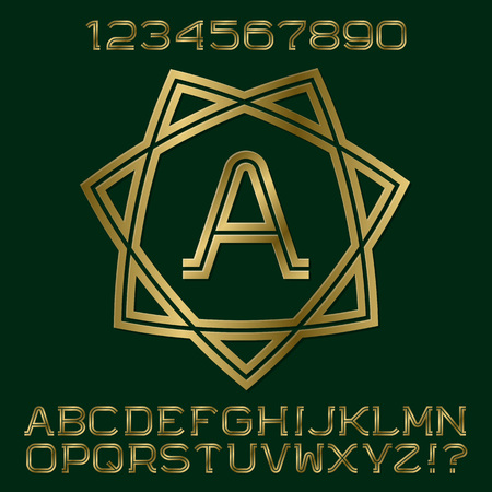 Golden double stripes letters and numbers with initial monogram in form of seven pointed star. Beautiful stylish font kit for logo design.