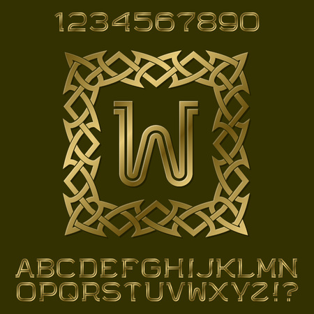 Golden double stripes letters and numbers with initial monogram in decorative square frame. Beautiful stylish font kit for logo design.